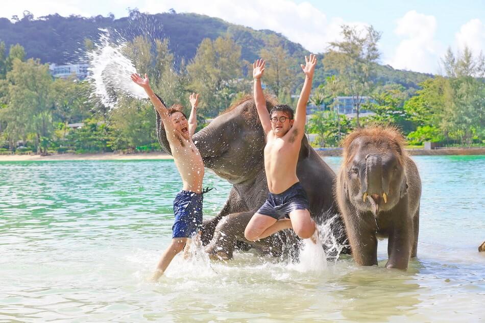 子象と水浴び体験